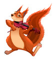 funny squirrel is playing the violin vector image vector image