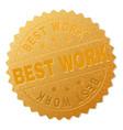golden best work award stamp vector image vector image