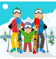 happy family on ski holiday in the mountains vector image