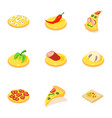 ingredient icons set isometric style vector image