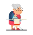 Iron clothes Household Granny Old Lady Character vector image vector image