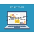 laptop with chains and locked with a padlock vector image vector image