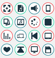 media icons set with loudspeaker gallery gadget vector image