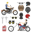 motorcyclist set helmets glasses and tools vector image vector image