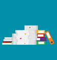 pile of paper documents and file folders vector image vector image