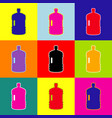 plastic bottle silhouette sign pop-art vector image vector image