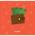 Purse with money icon vector image vector image