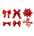 realistic red bows decorative xmas gift ribbon vector image