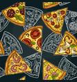 seamless pattern slice pizza pepperoni hawaiian vector image vector image