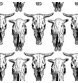 seamless pattern with cow and bull skull vector image vector image