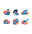 set icons with box delivery woman mobile vector image