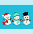 set of snowman for christmas holiday season vector image