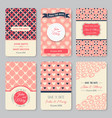 set perfect wedding templates with pattern vector image