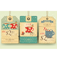 set tags with coffee cups vector image vector image