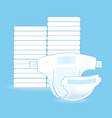 stack of baby diapers and the open diaper vector image vector image