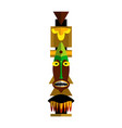 toothy screaming wood totem pole isolated on white vector image vector image