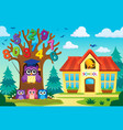 tree with stylized school owl theme 8 vector image vector image