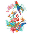 tropical flowers flamingoes and parrots vector image vector image