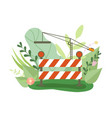 under construction barrier and crane in blooming vector image vector image