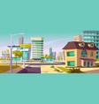urban street landscape with crossroads sidewalk vector image vector image