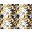 watercolor pattern with vintage camera and vector image vector image
