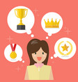 woman think about achievements vector image vector image
