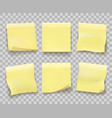 yellow memo paper on transparent vector image vector image