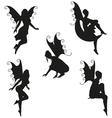 5 Fairy Silhouettes vector image vector image