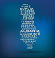 Albania map made with name of cities vector image