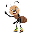 ant on skates on white background vector image vector image