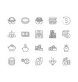 banknotes and coins line icons signs set vector image vector image
