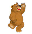 bear dancing and waving cartoon isolated object vector image vector image