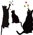 Black cats silhouettes and colorful butterlies vector image