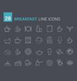 breakfast line icons vector image