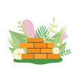 brick wall surrounded blooming flowers and leaves vector image vector image