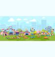 cartoon panorama with city amusement park vector image