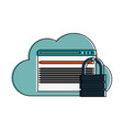 cloud storage with safety lock icon image vector image