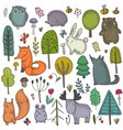 collection hand drawn wild forest vector image
