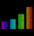 colored pixel bar chart icon vector image vector image