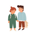 couple happy little children standing together vector image vector image
