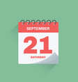 day calendar with date september 21 vector image vector image
