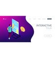 digital guide isometric 3d landing page vector image vector image