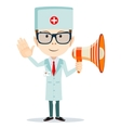 Doctor man with a Megaphone shows that all is well vector image vector image