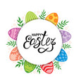 easter card with decorative eggs and branches vector image vector image
