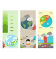 ecology infographics cards set with air water and vector image vector image
