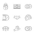 global finance icon set outline style vector image vector image