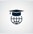 graduation cap icon simple globe element symbol vector image vector image