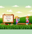 happy world teachers day with woman teachers vector image vector image