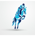 horse race equestrian sport blue silhouette vector image vector image
