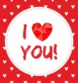 i love you valentines card with hearts vector image vector image